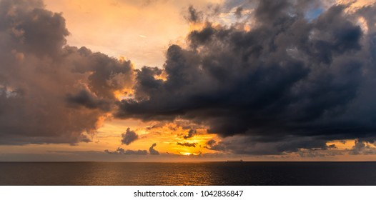 Sunset above the sea in the Philippines