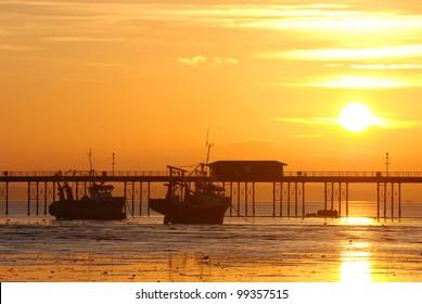 Sunset above the Southend Pier, Southend-on-Sea, England