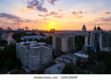 Sunset above summer evening Voronezh. Aerial view to Voronezh downtown.
