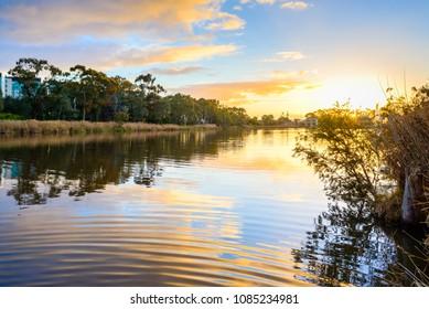 Sunset above Torrens river in Adelaide CBD, South Australia