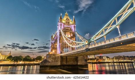 Sunset above Tower Bridge. Wonderful view of London symbol.