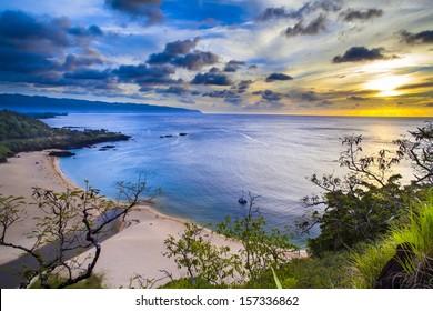 Sunset from above Waimea Bay on Oahu, Hawaii's North Shore