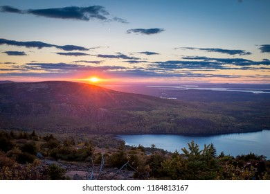Sunset in Acadia National Park from Cadillac Mountain - Mount Desert Island.