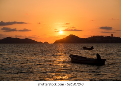 Sunset in Acapulco bay, Mexico