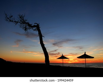 Sunset in the Adriatic Sea in Albania