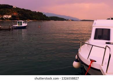 Sunset at the Adriatic sea. Rab island, Croatia.