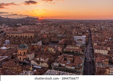 Sunset aerial view of Bologna, Italy