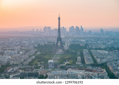 Sunset aerial view of the famous Eiffel Tower at France