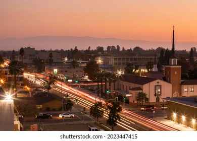 Sunset aerial view of historic downtown Bakersfield, California, USA.