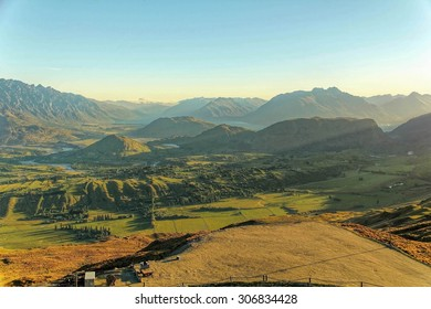 Sunset aerial view of queenstown, New Zealand