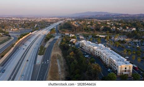 Sunset aerial view of the skyline of Chino Hills, California, USA.