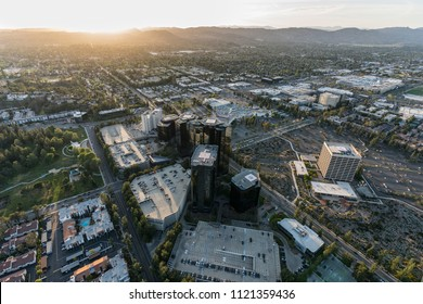 Sunset aerial view of  Warner Center in the San Fernando Valley area of Los Angeles, California.