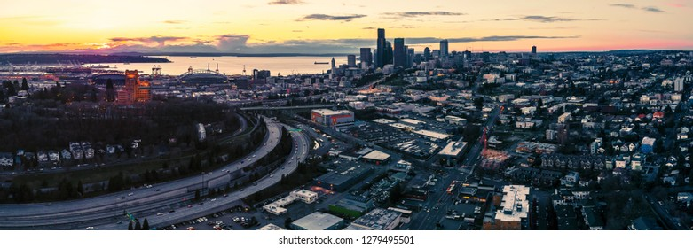 Sunset Afterglow Aerial Cityscape Panorama Above Seattle