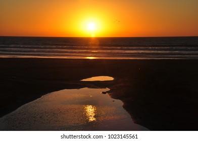 Sunset in Agadir city by the Atlantic ocean
