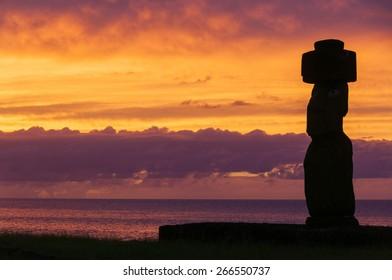 Sunset at Ahu Tahai, Easter island (Chile)
