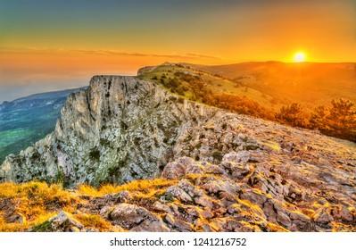 Sunset at Ai-Petri, a peak in the Crimean Mountains