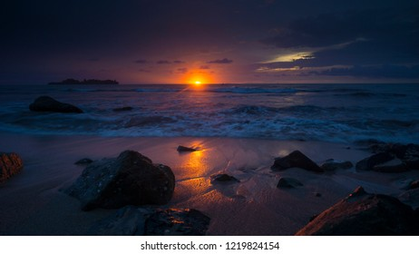 sunset in air manis beach in Padang city, west sumatera