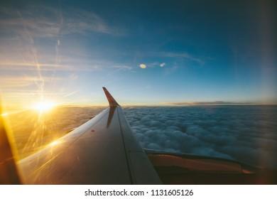 Sunset airplane view