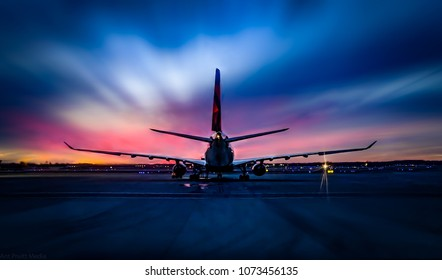 Sunset Airplane Waiting For Takeoff