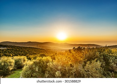 Sunset in Ajloun, Jordan. Ajloun. It is located about 76 km north west of Amman, with Israel visible.