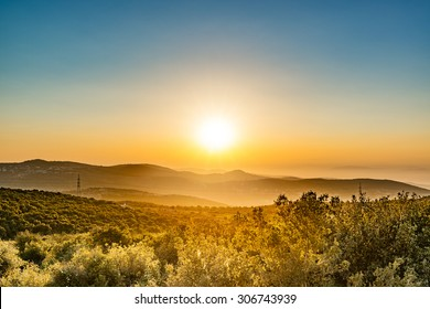 Sunset in Ajloun, Jordan. It is located about 76 km north west of Amman, with Israel visible.