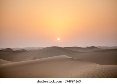 Sunset in the Al Lisali Desert, in Dubai, United Arab Emirates