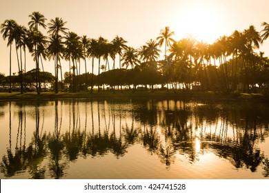 Sunset from Ala Moana Beach Park west of Waikiki, Oahu, Hawaii.