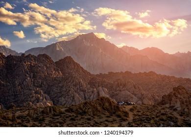 Sunset at Alabama Hills, Eastern Sierra Nevada Mountains, Lone Pine, California, USA.