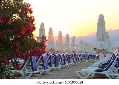 Sunset at Alanya beach, Alanya, Turkey
