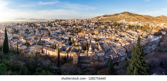 Sunset of the Albaicin, in Granada, Spain, as seen from the Alhambra