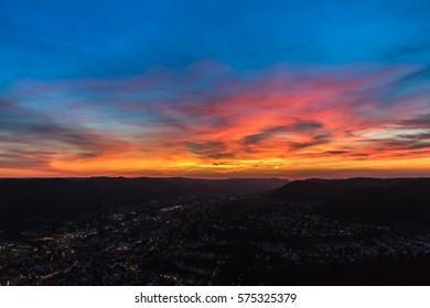 Sunset Albstadt Swabian Alps