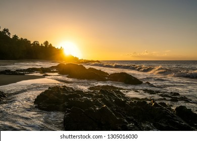 Sunset along Blackrock Beach in Trinidad and Tobago