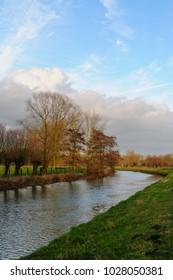 Sunset Along the Dender River in East Flanders, Belgium
