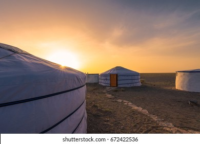 """Sunset along the """"Ger"""" at Mongolia."""