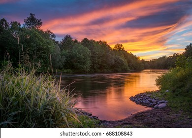 Sunset along the Lehigh River in Walnutport, Pennsylvania U.S.A.