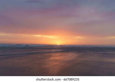 Sunset Along Pacific Beach State Park Moclips Washington State, USA