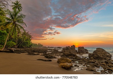 Sunset along the Pacific coast of Costa Rica near the entrance of the Corcovado National Park in the Osa Peninsula, Central America.