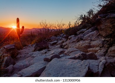 Sunset along the Pima Canyon hiking trail. A rocky section of the path into the wilderness. Sonoran Desert landscape with mountains, saguaro cactus, and a sunburst. Pima County, Tucson, Arizona. 2019.