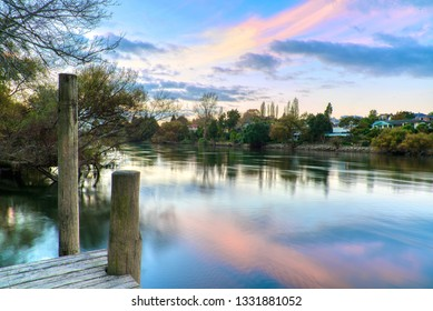 Sunset along the Waikato River in Hamilton, Waikato