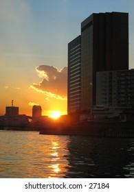 Sunset along the waterway in Tokyo, Japan