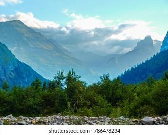 sunset in the alpine mountain water stream in the mountain of Switzerland, Unterstock, Urbachtal