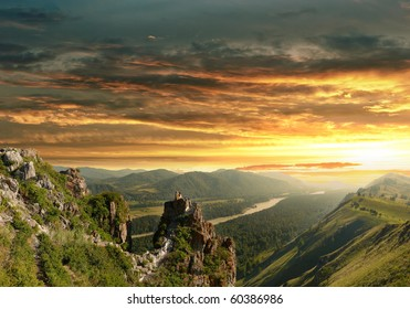 Sunset in the Altai Mountains