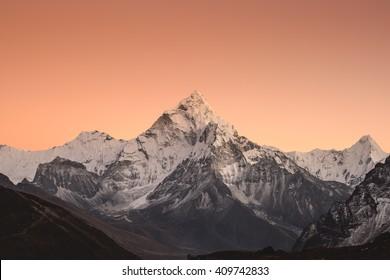 Sunset of Ama Dablam in Dzongla village, Nepal