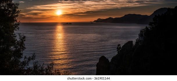Sunset Amalfi coast between Naples and Salerno. Italy