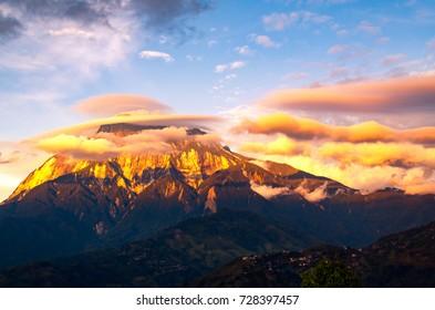 Sunset and amazing lenticular clouds over Mount Kinabalu in Kinabalu national park, Sabah Borneo, Malaysia.