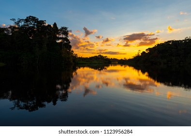 Sunset in the Amazon river basin inside the Yasuni National Park in Ecuador, South America.