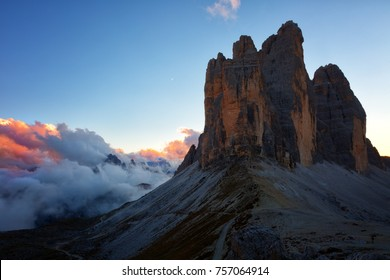 sunset among the rocks Tre Cime di Lavaredo , Dolomites, Italy