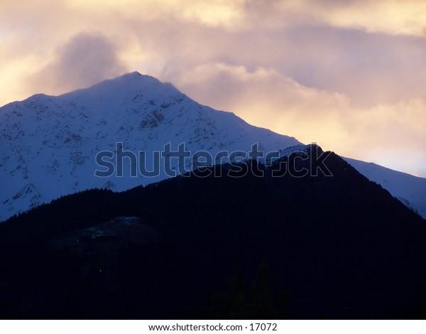 sunset amongst mountains