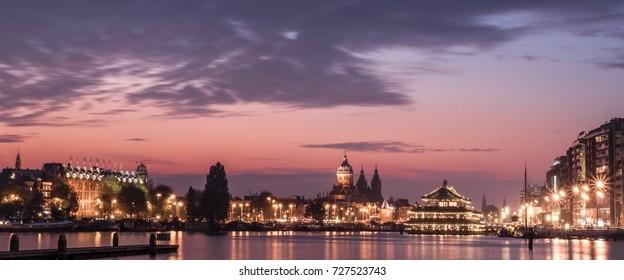 Sunset in Amsterdam harbor