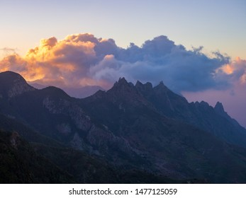Sunset in Anaga mountains, Tenerife Canary Islands, Spain